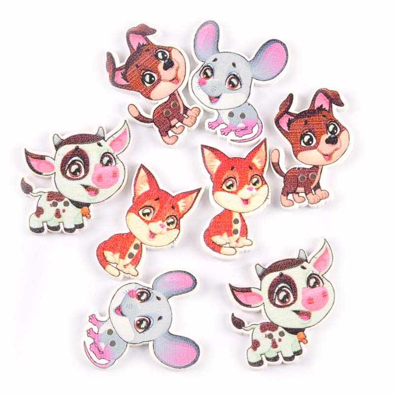 Mix hayvan desen ahşap düğmeler dikiş giyim için DIY el sanatları karalama defteri köpek boyalı düğme el yapımı giyim aksesuarları M1994