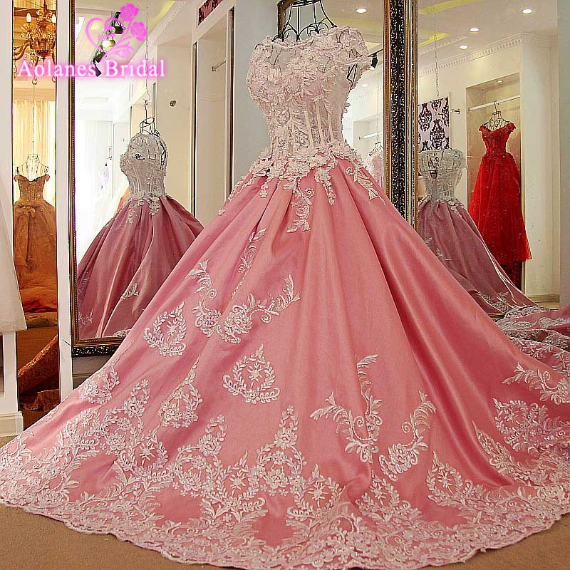 AOLANES Elegant Ball  Gown Sweep Train Lace Crystals V Neck Evening Dress Prom Dresses Robe De Soiree Party Dress Sleeveless