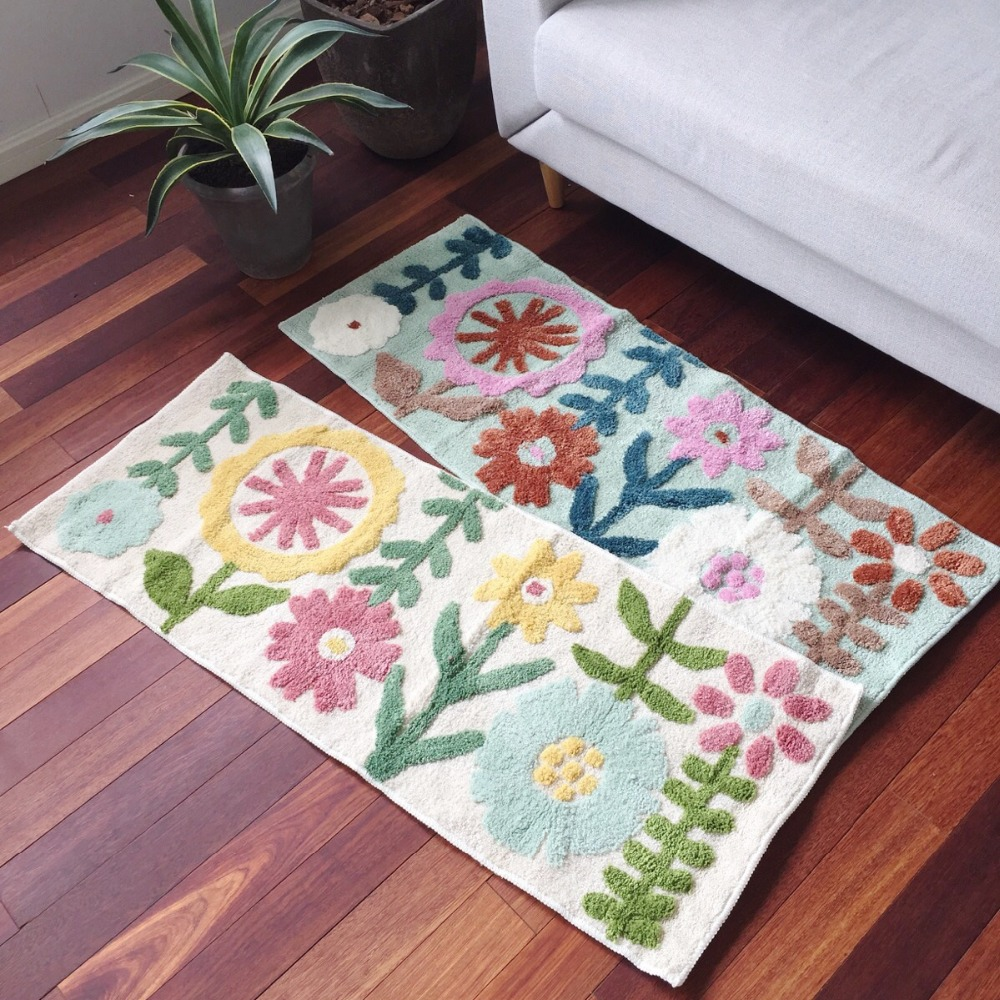 Tapis de sol multifonction en coton fleurs pour cuisine, tapis de porte, tapis de salle de bain mignon, tapis de sol de décoration pour chambre d'enfant
