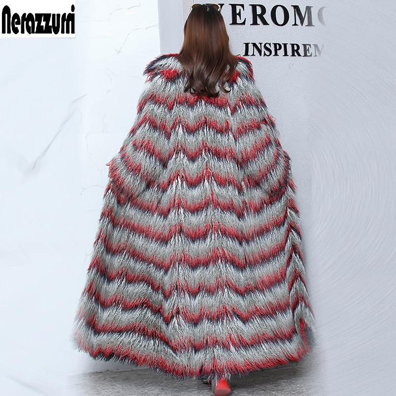 Нераззурри пушистое макси пальто из искусственного меха женское удлиненное поточное цветное меховое пальто размера плюс с искусственным монгольским овечьим мехом пальто 5xl 6xl