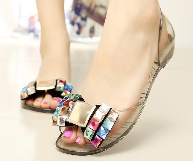 6661fe45c7475 Eilyken Women Sandals Summer Style Bling Bowtie Jelly Shoes Woman Casual Peep  Toe Sandal Crystal Flat Shoes Size 35 40-in Women's Sandals from Shoes on  ...