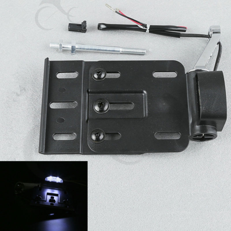 Collapsible LED Light Side Mount License Plate For Harley Sportster XL 883 1200 48 Forty Eight Dyna Fat boy Parts 2004-2016 brand new silver color motortcycle accessories abs plastic led tail light fit for harley harley iron 883 xl883n xl1200n chopped