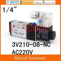 3V210 08 NC AC220V two tee pneumatic solenoid valve port 1/4