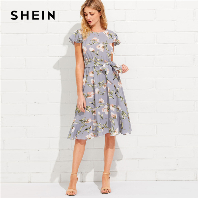 SHEIN Tie Neck Ruffle Hem Calico Dress 2018 Summer Fit and Flare Short Dress Women  Cap Sleeve A Line Floral Vacation Dress 3