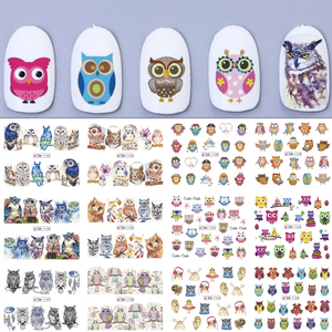 Mixed Owl Cartoon Nail Art Water Transfer Stickers Decorations Wraps Designs Decals Sliders Polish Nail Manicure TRBN1153-1164