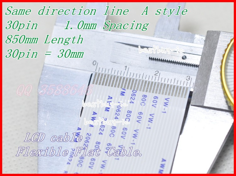 1.0mm Spacing + 850mm Length +30Pin A / same direction line Soft wire FFC Flexible Flat Cable. 30P*1.0A*850MM