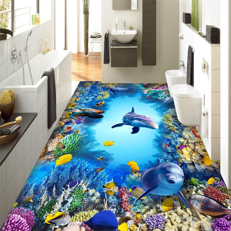 beibehang Underwater World Dolphins murals wall stickers 3D wallpaper floor for living room PVC floor self-adhesive wall papers  beibehang summer beach floor floor murals wall stickers 3d wallpaper for living room pvc floor self adhesive papel de parede 3d