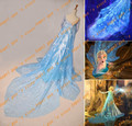 Free shipping New Arrival Custom Made  snow queen Princess elsa cape Cosplay Costume for adult