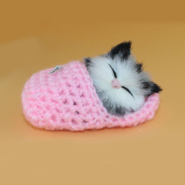 cute lovely simulation sounding shoe kittens cats plush kids toys for children baby appease christmas birthday
