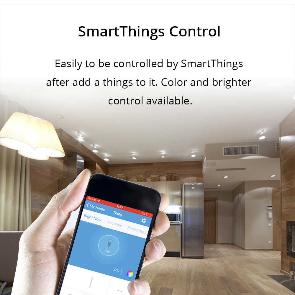 ZigBee 3 0 Downlight Kit Smart RGBW Led Recessed Ceiling Light 12W  Compatible with Smartthings Hub Echo plus Smart Lighting
