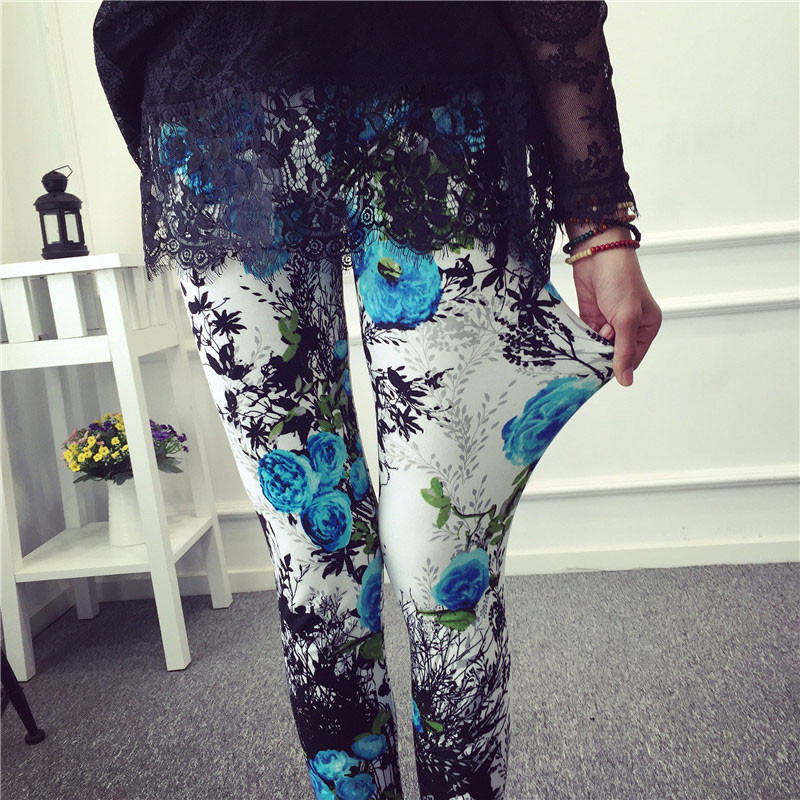 BIVIGAOS Spring Summer Womens Fashion Black Milk Thin Stretch leggings Colored Stars Graffiti Slim Skinny Leggings Pants Female 78