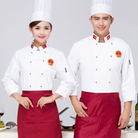 Food Service Chef Jacket Chef Uniform White Cook Clothes Long Sleeved Hotel Restaurant Catering Kitchen Chef for Men Women