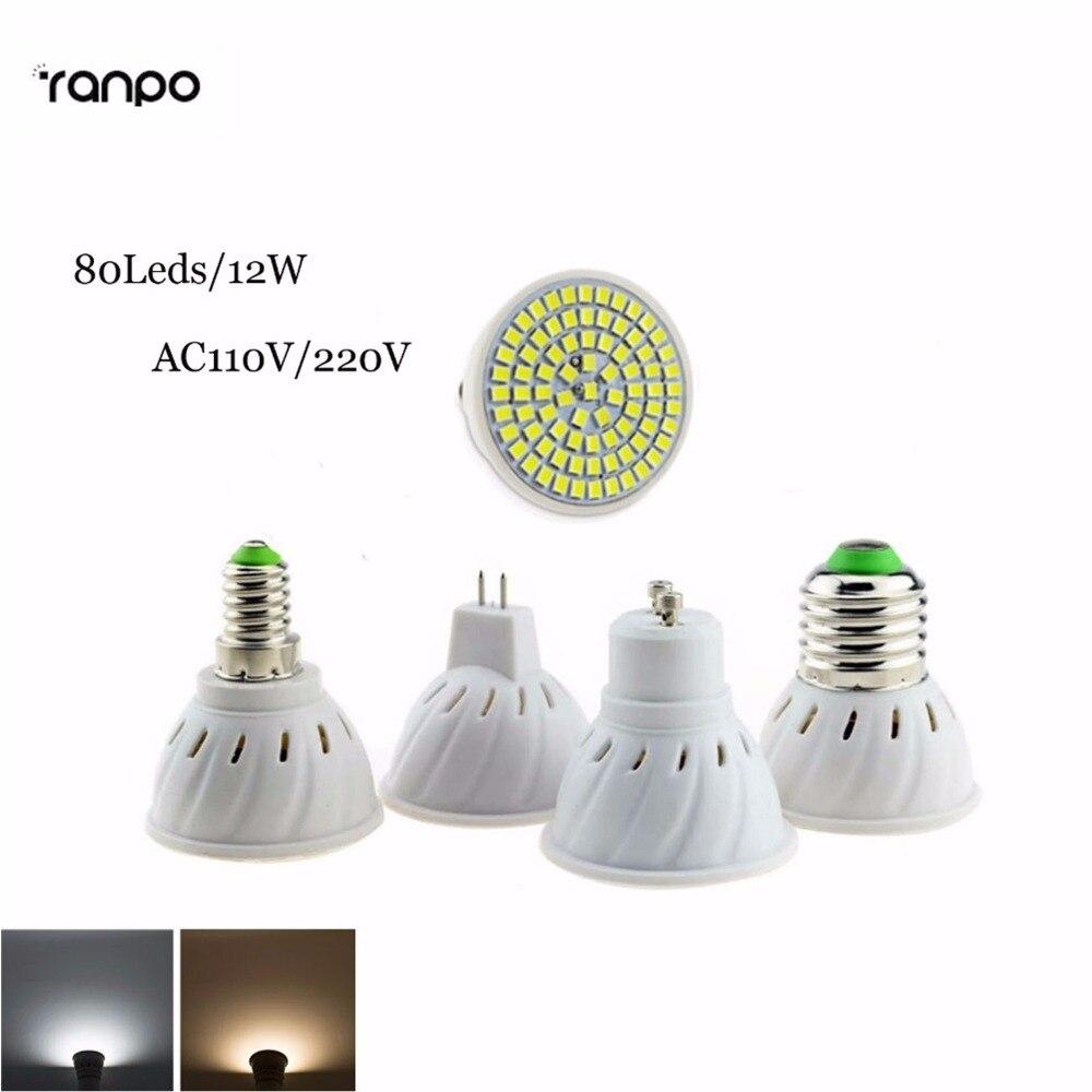 Super Bright E27/E14/MR16/GU10 LED Spotlight AC 110V Led Lamp Light Warm/Cold/ Natural White gu10 80SMD Base Lampada LED Bulbs