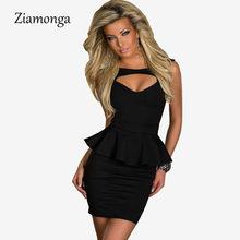 1bbf8ef859 Venda quente Plus Size M L XL Sexy Oco Out Peito Peplum dress mulheres  ladis recorte bandage túnica clube dress branco preto ros.