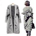 Rebeca Ocasional de Las Mujeres Dulces de Impresión Chica Cartón de Punto Blusa de manga Larga Tops Mujeres Largo Cardigans Suéteres de Costura Abierta