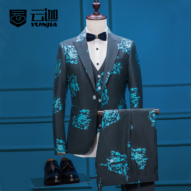 New Arrivals Men's Clothing Tailored Green Flower Suit Single Button Print Prom Blazer Gentle Retro Jacket+Pants+Vest Suits Set
