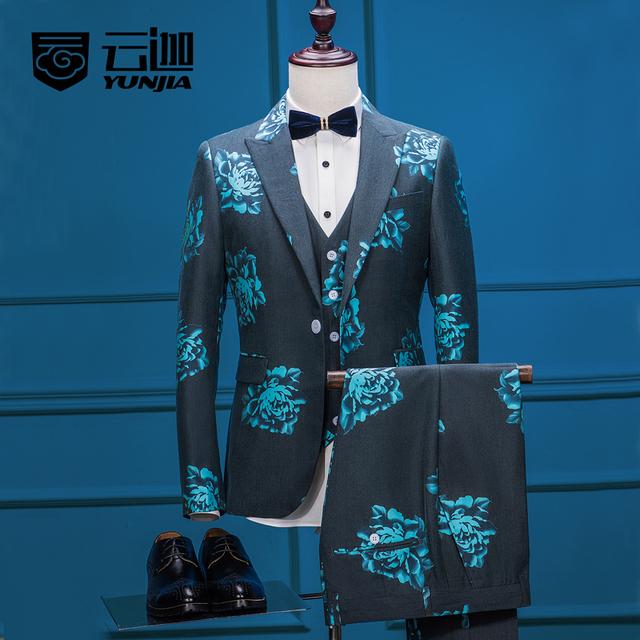 Nuevos hombres de las llegadas ropa a medida flor verde traje de un solo botón imprimir prom blazer gentle retro jacket + pants los juegos del chaleco conjunto