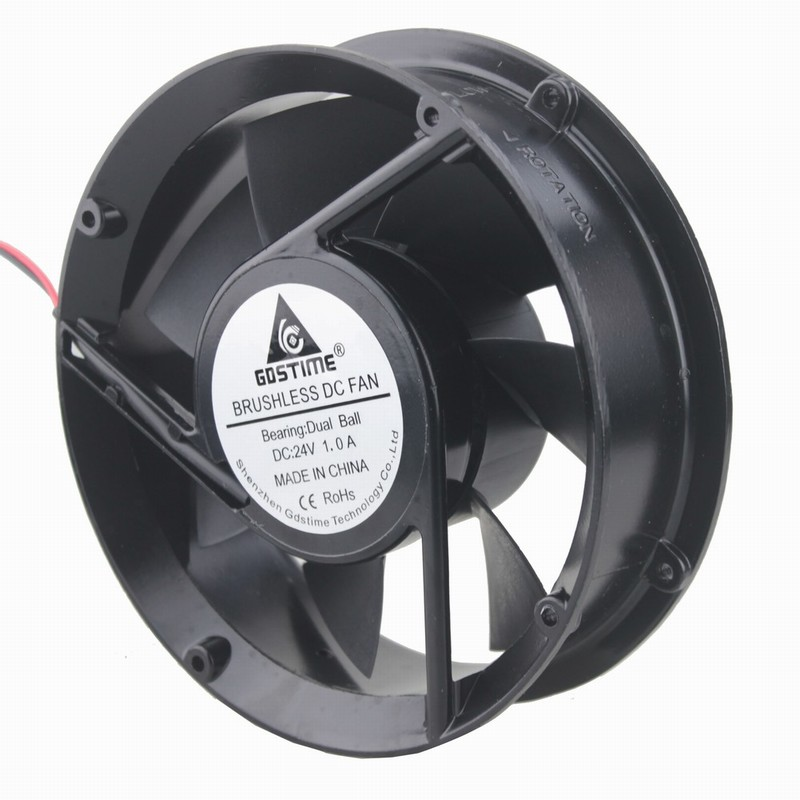 2 pcs Gdstime 170mm Metal Case DC Cooling Fan 24V 172mm x 51mm Circle Cooler Two Ball Bearing 50mm 2 Wire 17cm 172x51mm 17251 кроссовки asicstiger asicstiger as009aujhk94