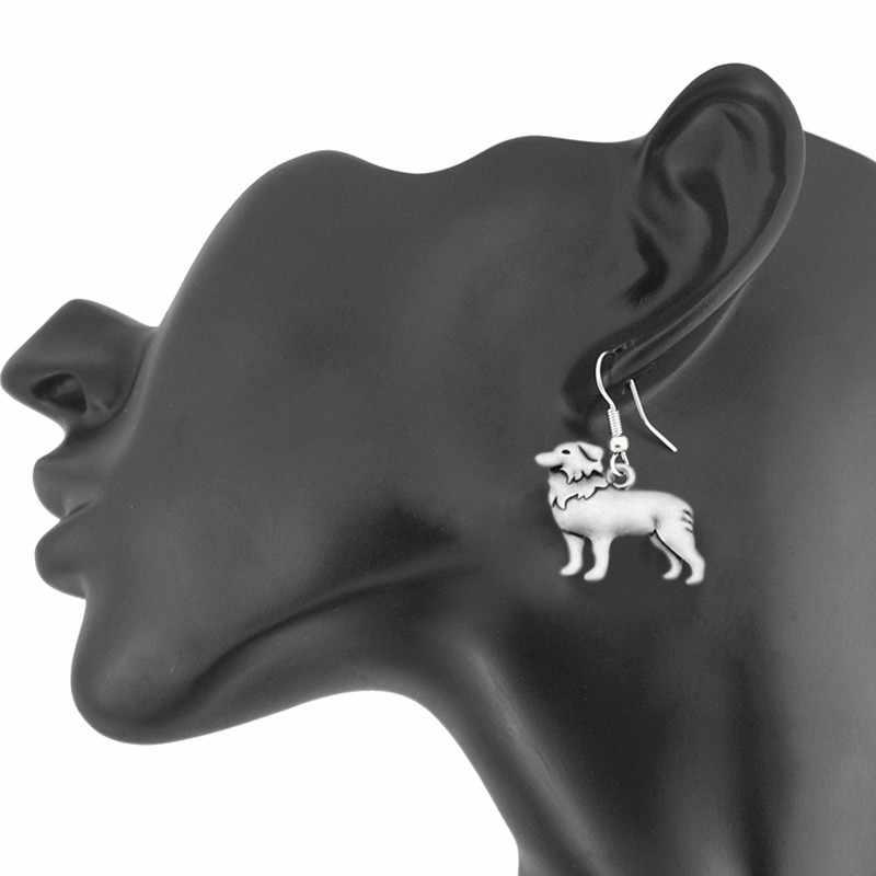 Vintage Boho border collie Drop kolczyk czeski pies charms kolczyki dla kobiet Brincos długie kolczyki biżuteria Pendientes