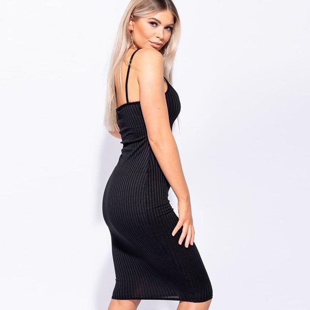 Orange Dresses Sexy High Waist Women Summer V-Neck Backless Knee Dress Spaghetti Bodycon Elegant Fashion Party 4