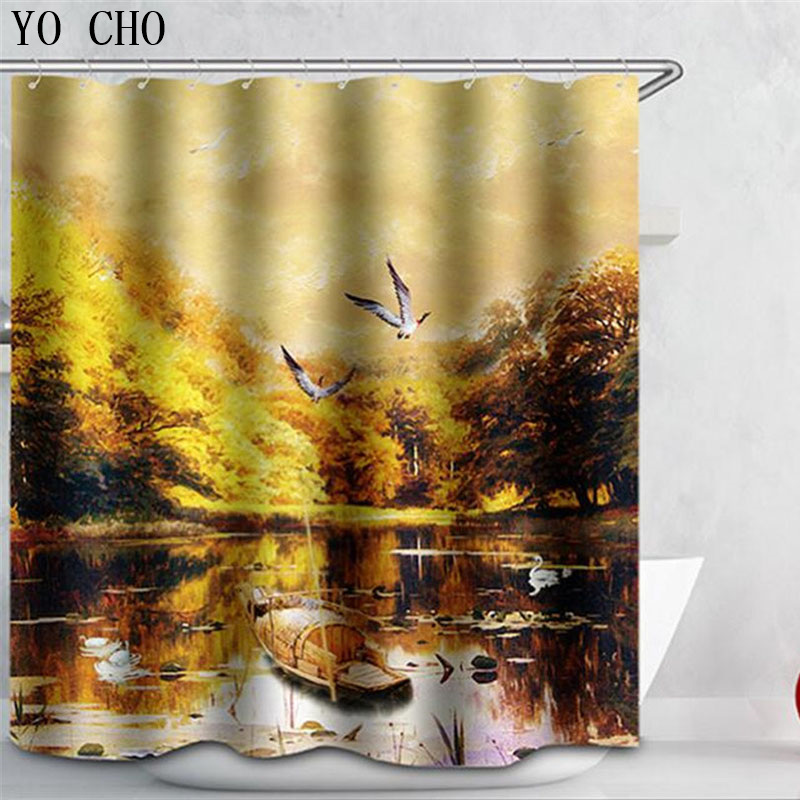 Hot 3D Starry sky Pattern Shower Curtain With 12 Hooks Bathroom accessories Use geometric bath curtain duschvorhang Multi size