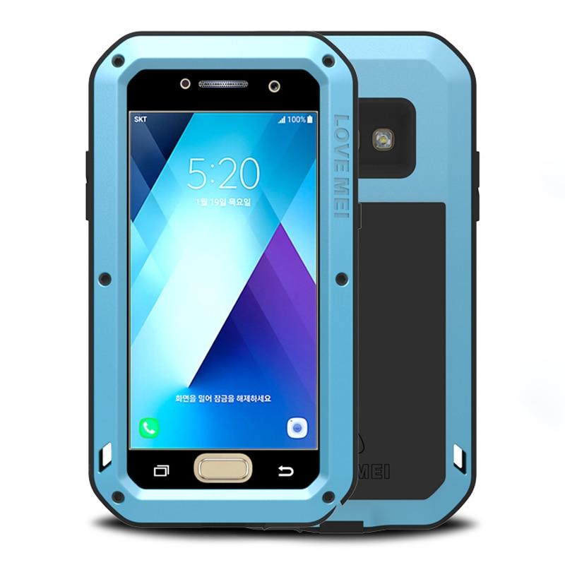 imágenes para Caja del teléfono Para Samsung A5 2017 Caso A Prueba de Golpes + Gorilla Glass de Aluminio de lujo de Metal Cubierta de Armadura Para Samsung Galaxy A5 2017 caso
