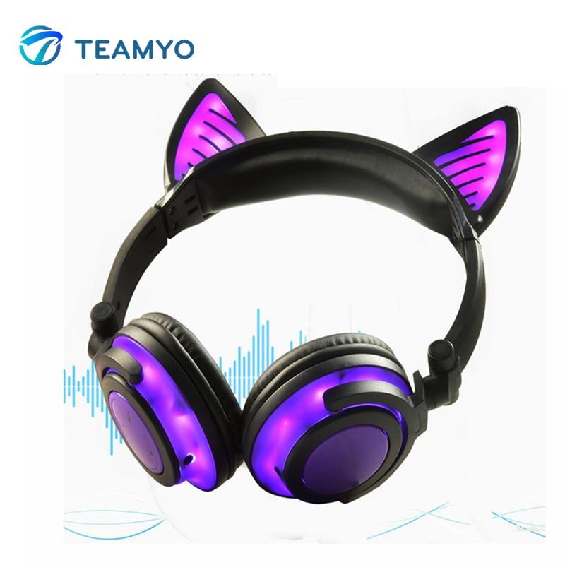 Teamyo Bluetooth Earphone Cat Ear Wireless Headphones microphone Flashing Glowing Headset With LED Light For PC Laptop Adult Kid