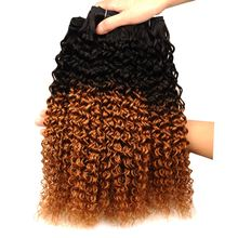 Ombre 1B 30 Afro Kinky Curly Weave Hair 4 Bundles Red Brown Malaysian Human Hair Weave Non Remy No Shedding Can Be Dye