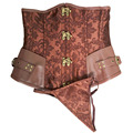 Marrón Retro Brocado Gótico 12 Leather Corset Steampunk Corsé Deshuesado Acero Bustiers Tops Shaperwear Envío Gratis