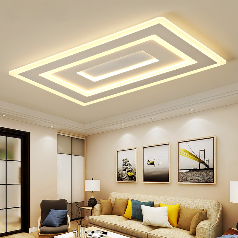 Surface mounted modern led ceiling lights for living room bedroom Square acrylic indoor home ceiling lamp fixtures AC 85-265VSurface mounted modern led ceiling lights for living room bedroom Square acrylic indoor home ceiling lamp fixtures AC 85-265V
