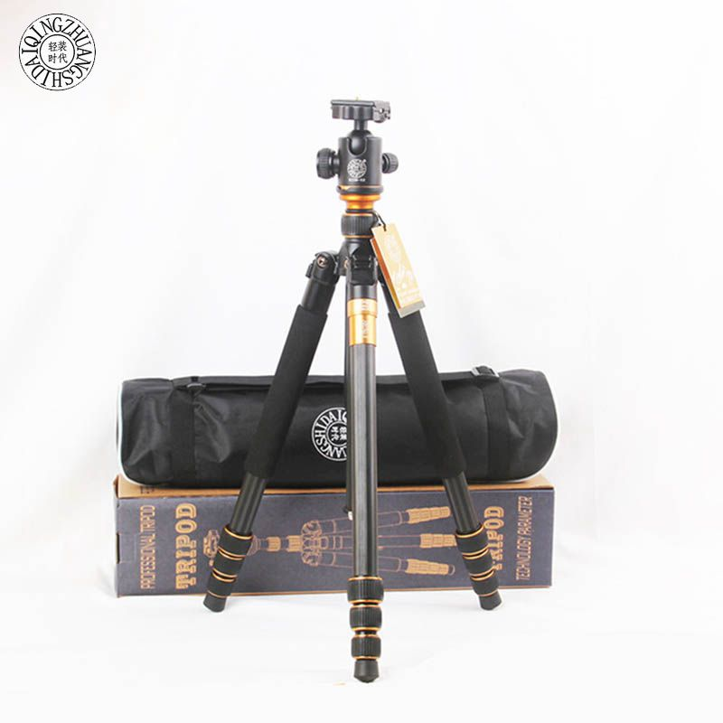 QZSD Q999C Carbon Fiber Professional Camera Tripod Monopod Stand & Ball Head For Canon Nikon DSLR Camera Phone Better than Q999 new qzsd q668 60 inch professional portable camera tripod for canon nikon sony dslr ball head monopod tripod stand loading 8kg