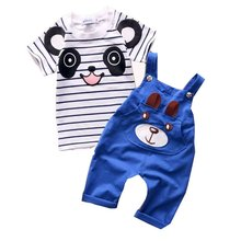 2016 Fashion Baby Boy Girl Clothing Sets Cotton Overalls Cartoon Tops T shirt +Jumpsuits Romper Set Kid Clothes Outfits Suit