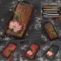 Embossing Genuine Leather Wallet for Women Clutch Bag Zipper New Vintage Flower Long Wallet Purse Clutch Female Luxury Wallet