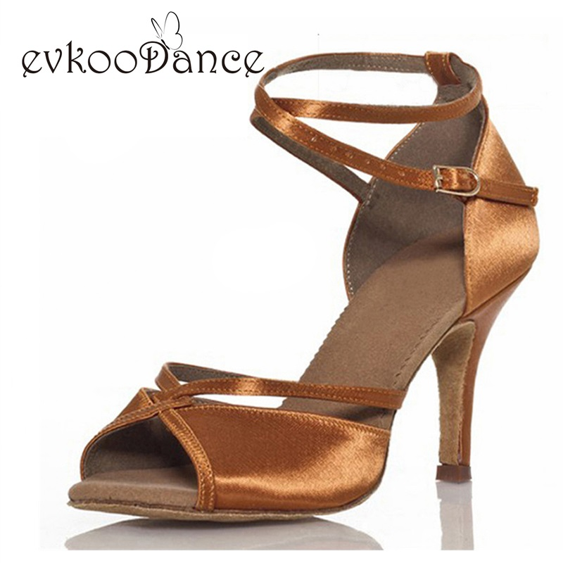 Black And Brown Color Dancing Shoes Heel Height 8.5cm Size US 4-12 Comfortable Satin Salsa Latin Dance Shoes Woman NL096