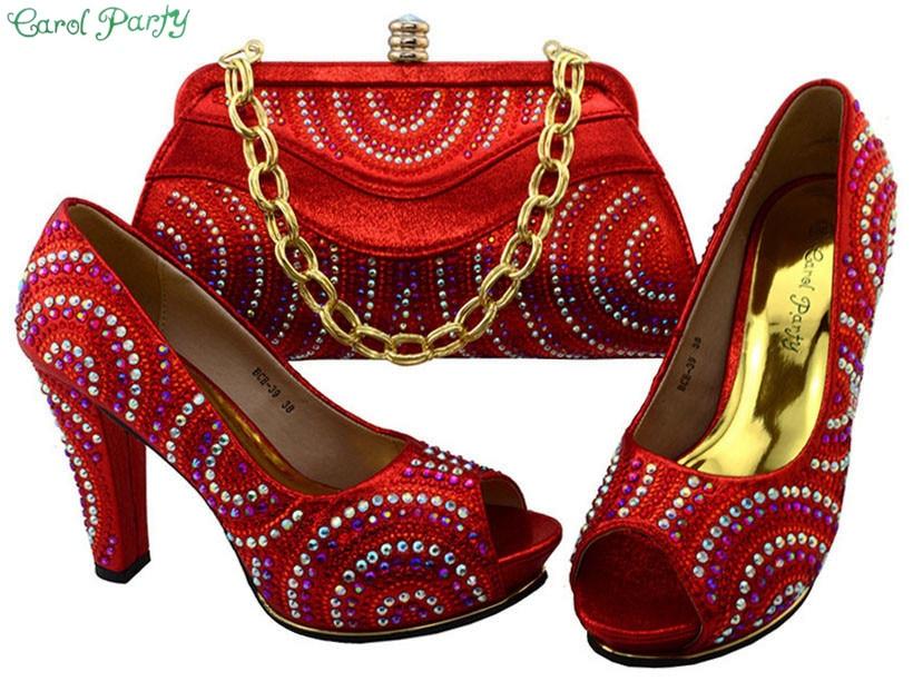 купить Shoes and Bag Set African Sets 2017 Italian Ladies Shoe and Bag Set Decorated with Rhinestone Nigerian Shoes BCH-39 недорого