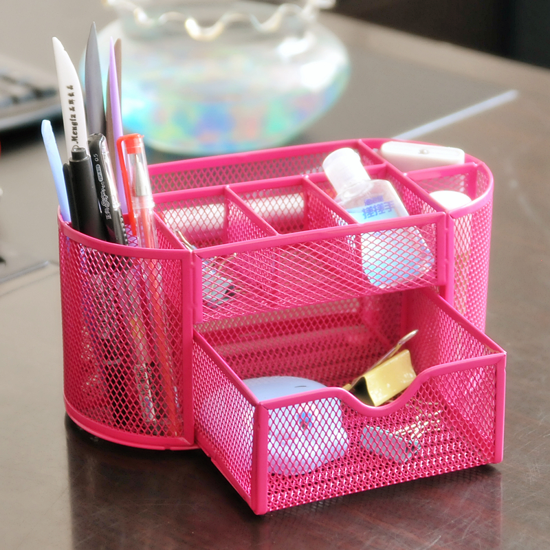 Metal Office Supplies Notes Desktop Organizer Pen Container Stationery Pens Holder Desk Accessories Free Shipping 0709 In From