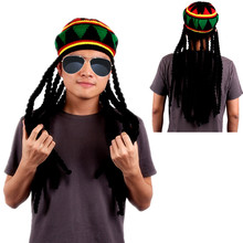 1Pc Bob Marley Reggae Jamaican Rasta Hat Dreadlocks Wig Caribbean Beret Cap