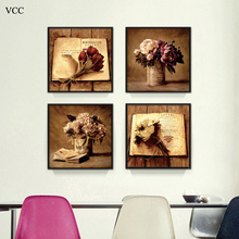 Фотография Book Flower Art Print Paintings On The Wall Art Canvas Painting Poster Picture,Wall Picture for Living Room, Home Decor