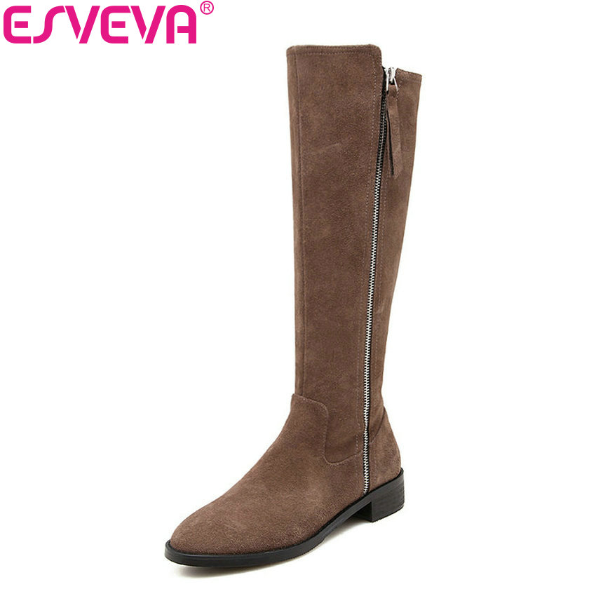 ESVEVA 2019 Shoes Women Square Med Heels Sewing Knee-high Boots Cow Suede Round Toe Autumn Boots Shoes Thigh High Boots 34-39ESVEVA 2019 Shoes Women Square Med Heels Sewing Knee-high Boots Cow Suede Round Toe Autumn Boots Shoes Thigh High Boots 34-39