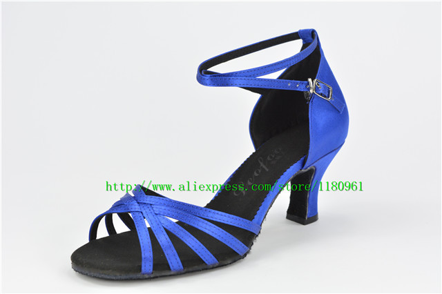 Women's Dance Shoes Latin dance shoes Party shoes Heels Chunky Heel 6.5cm Blue satin Factory direct sale  CL22