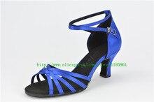 Frauen Tanzschuhe Latin dance schuhe Partei schuhe Heels Blockabsatz 6,5 cm Blau satin großverkauf der Fabrik CL22
