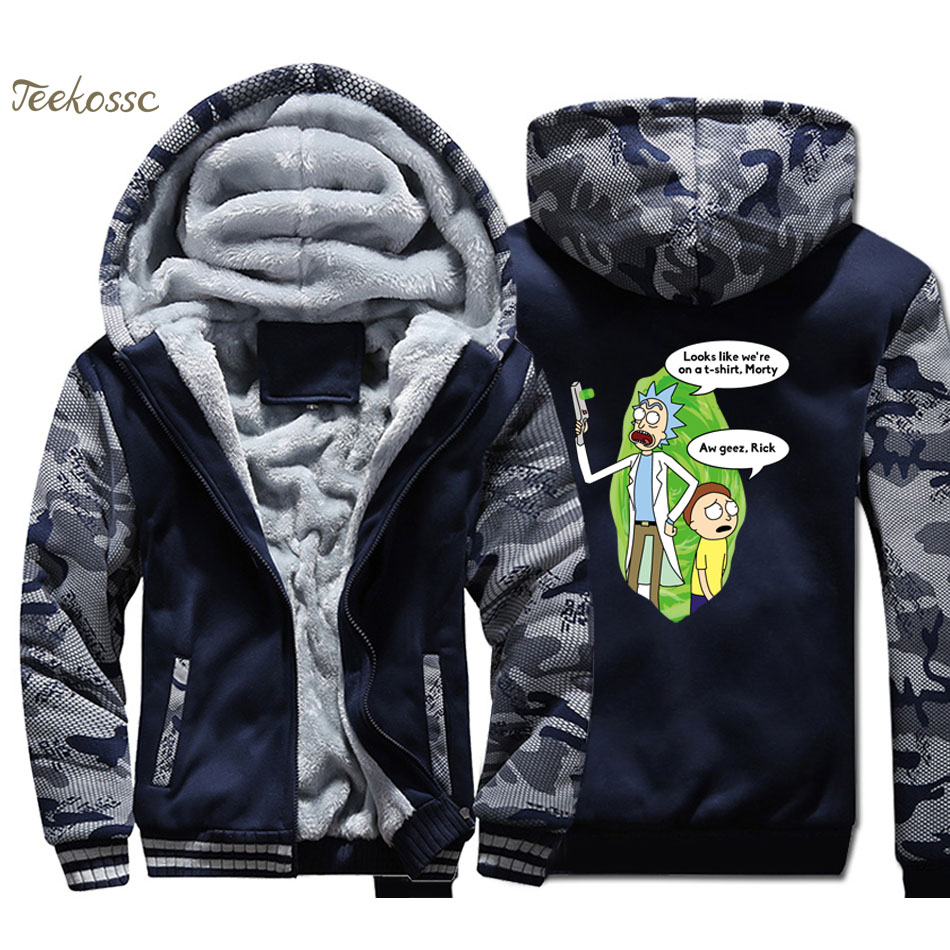 New Brand Rick And Morty Hoodie Men Funny Print Hooded Sweatshirt Coat 2018 Winter Warm Fleece Thick Anime Jacket Brand Clothing