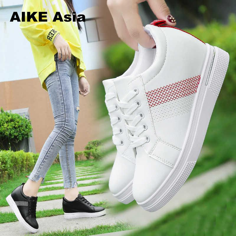 2019 Women Wedge Platform Rubber Brogue Leather Lace Up High Heel Shoes Pointed Toe Increasing Creepers White Sneakers  Sapato