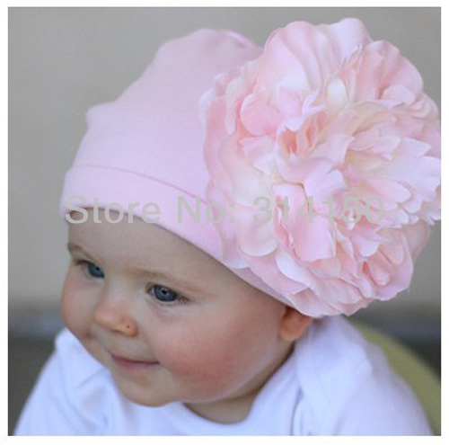 Cap bebê menina flor grande chapéu de natal criança natal rosa suave cap crianças gorros de algodão chapéu da flor 1 pcs