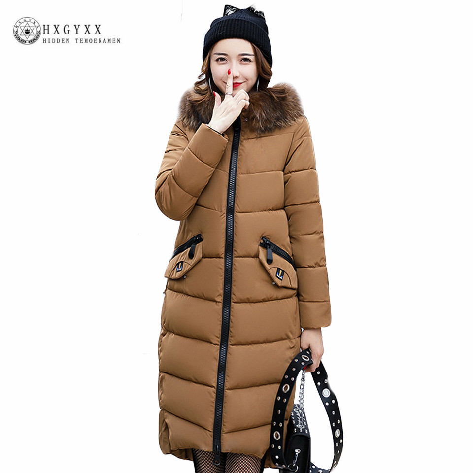 Long Hooded Fur Parka Winter Woman Quilted Jackets Plus Size Ladies Coats Down Cotton Padded Warm Overcoat 2017 Snow Wear  OK382 new 2015 winter coats women jackets plus size hooded thick patchwork warm cotton padded long ladies cotton