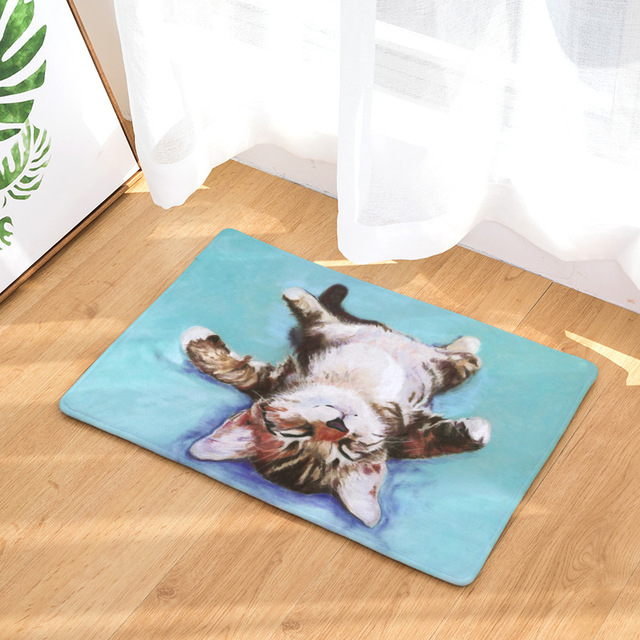 CAMMITEVER Oil Painting Cats Dogs Cow Animal Pattern Rugs 2018 New Small Rug  Mat Doormat Modern