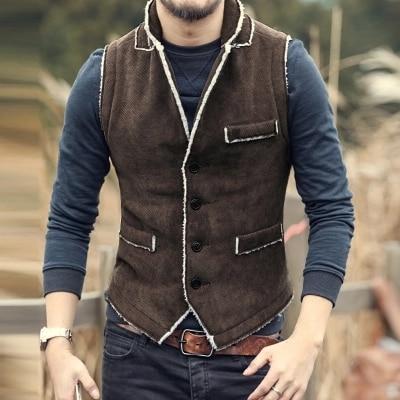 Casual Men Brown Vest Slim Fit cotton Waistcoat Winter Warm Men single breasted Vest Mens Jacket