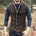 Casual Men Brown Vest Slim Fit cotton Waistcoat Winter Warm Men single breasted Vest Mens Jacket Sleeveless veste homme 2016 New