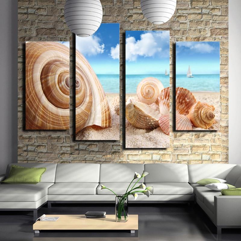 ᗛ4 unids (sin Marcos) de arte de la pared seaview mar conchas moda ...