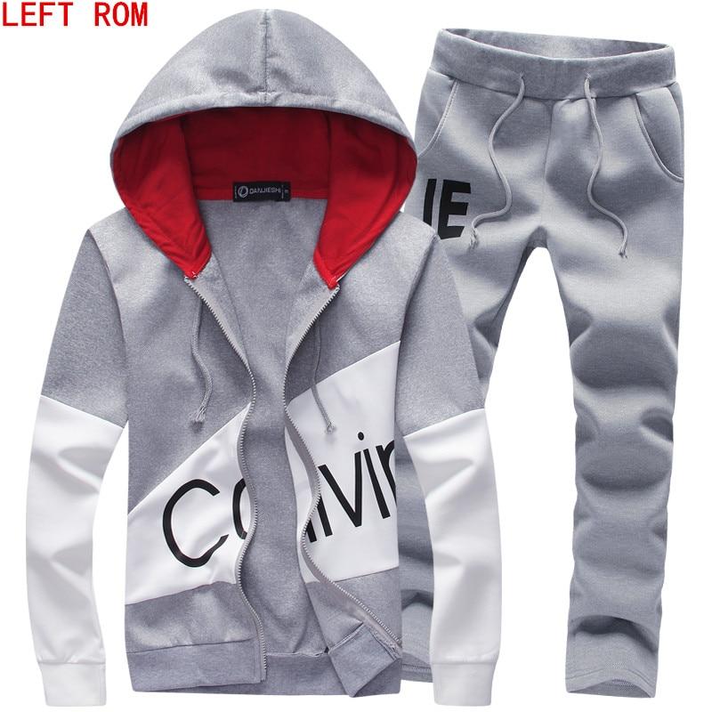 Primavera Autunno giacca maglione Con Cappuccio + pantaloni pantaloni sportivi uomo stampa suits sportwear Tuta di Colore Lotta
